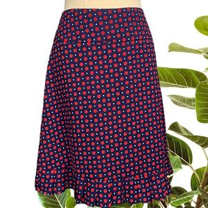 Review size 6 blue with red polkadot skirt